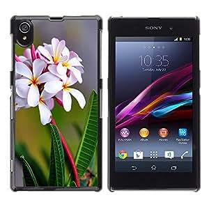 Caucho caso de Shell duro de la cubierta de accesorios de protección BY RAYDREAMMM - Sony Xperia Z1 L39 - Flores blancas