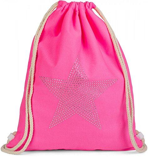colore neon di Rosa Rosa stelle neon borsa glitter bauletto e styleBREAKER 02012123 unisex applique strass con zaino sportiva wZI6IqOf