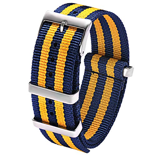 Carty Watch Straps Mens High Density Nylon NATO Strap 22mm Military Watch Band Heavy Duty Buckle (Dark Blue Dark Yellow Stripe) (Military Watch Band Strap)