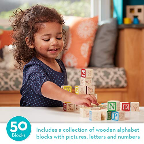 Melissa & Doug Deluxe Wooden ABC/123 Blocks Set (Developmental Toys, Storage Pouch, 1-Inch Wooden Blocks, 50 Pieces)