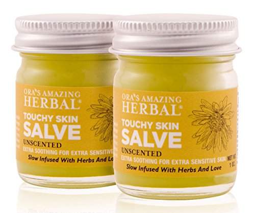 Natural Touchy Skin Healing Salve Intensive Skin Treatment For Sensitive Skin, Dry Hands and Cuticles, Eczema, Psoriasis, Rashes, Hemorrhoids, (Ointment, Cream, Lotion, Moisturizer) (1oz 2Pack)
