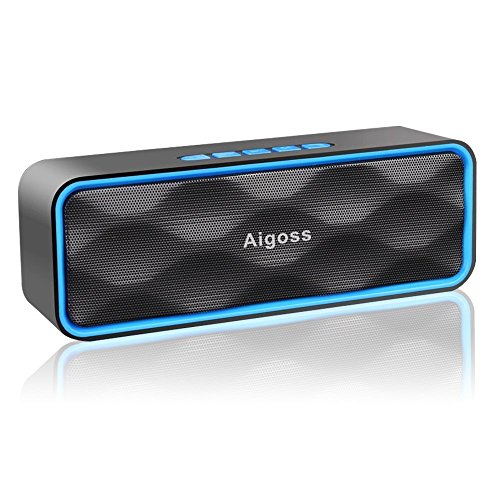 Wireless Bluetooth Speaker, Aigoss Portable Outdoor Stereo Subwoofer with HD Sound and Bass, Handsfree Calling, FM Radio and TF Card Slot, Built-in Mic, Blue