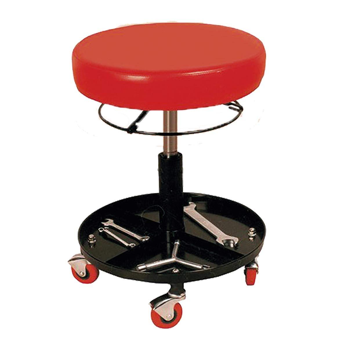 Taburete de trabajo ajustable/regulable en altura con ruedas para taller mecanico y casa - Asiento de FOAM ACOLCHADO BRICO