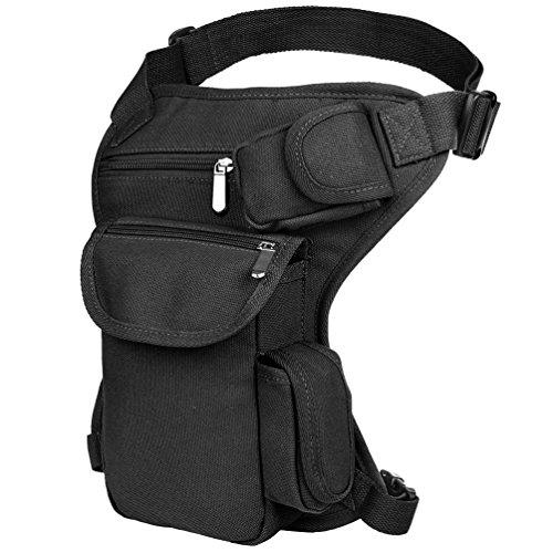 nvas Sports Racing Drop Tactical Leg Bag Durable Outdoor Waist Bag Sports Fanny Thigh Pack Practical Tactics Waist Pouch (Black) ()