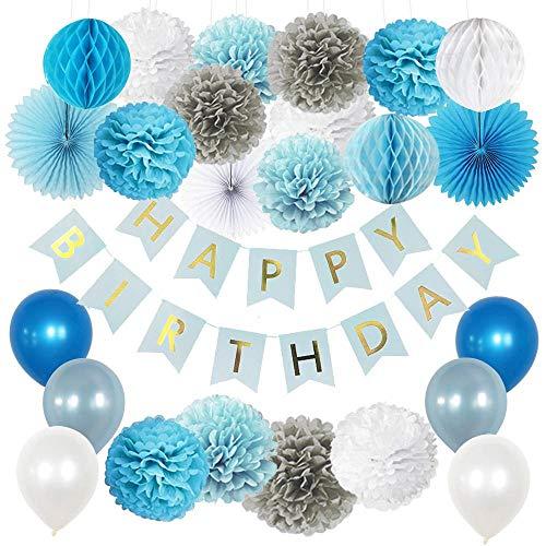 Vidal Crafts Boy Birthday Decorations, 1st Birthday Decoration for Boys, Happy Bday Banner, Tissue Pom Pom Kit, Honeycomb Balls, Paper Fans, Balloons, Boys Birthday Party Supplies