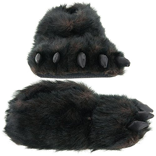 ff74c908db57 Fuzzy Black Bear Paw Slippers for Men and Women Medium available in ...