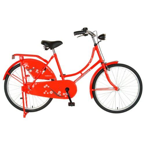 Hollandia New Oma Dutch Cruiser Bike with Chain Guard and Dress Guard, 24 inch Wheels, 17 inch Frame, Women's Bike, Red