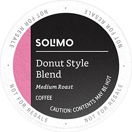Amazon Brand - 100 Ct. Solimo Medium-Light Roast Coffee Pods, Donut Style, Compatible with Keurig 2.0 K-Cup Brewers