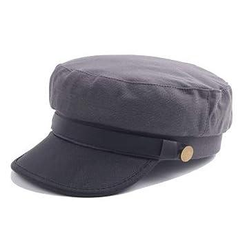LMZXH&M Gorra Militar Sombrero De Sol De Cuero PU De Invierno Sombrero Negro Marino, ...