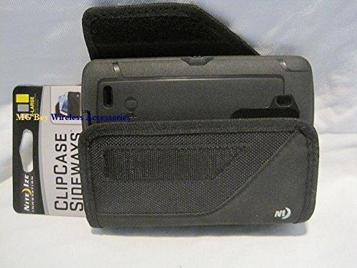 Nite Ize Black Extended Sideways Ballistic Horizontal Rugged Heavy Duty X-large Holster Pouch W/Durable Fixed Belt Clip Fits LG G3 / LG G3 D850 AT&T / LG G3 990 Sprint / LG G3 D851 T-Mobile / LG G3 VS985 4G Verizon Otterbox Commuter/Defender Case (Otter Box For Sprint Lg G3)