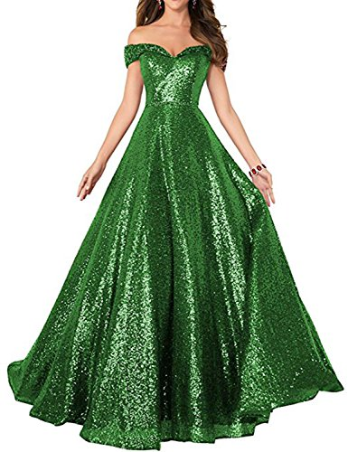 - Sequin Prom Dresses Off The Shoulder Crystal Beaded Swing Ball Gown Long Emerald Size 12