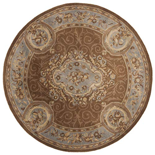 Safavieh Empire Collection EM409A Handmade Traditional European Blue and Brown Premium Wool Round Area Rug (8' Diameter)