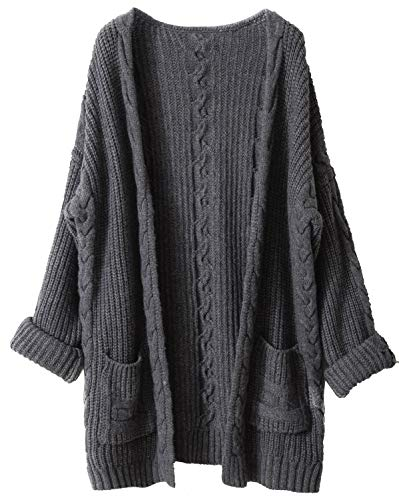 Liny Xin Women's Cashmere Loose Casual Long Sleeve Open Front Oversized Cardigan Sweater Wool Coat Sherpa Jacket with Pockets (L, Grey)