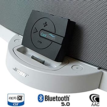 b4a77583525 CoolStream Boom Bluetooth Adapter for Bose SoundDock with 30 Pin Connector  and Wired Headphones Includes 3D Sound Enhancement (Black)