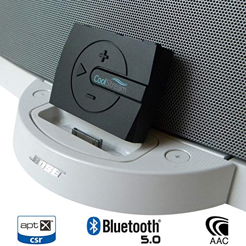 CoolStream Boom Bluetooth Adapter for Bose SoundDock with 30 Pin Connector  and Wired Headphones Includes 3D Sound Enhancement (Black)