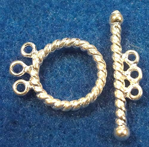 10Sets Silver-Plated 3 Strand Toggle Clasps Brass Twist Look Tibetan Hooks C395 Crafting Key Chain Bracelet Necklace Jewelry Accessories Pendants