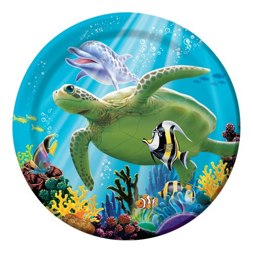 Creative Converting Ocean Party 8 Count Paper Lunch Plates (Ocean Theme Flatware)