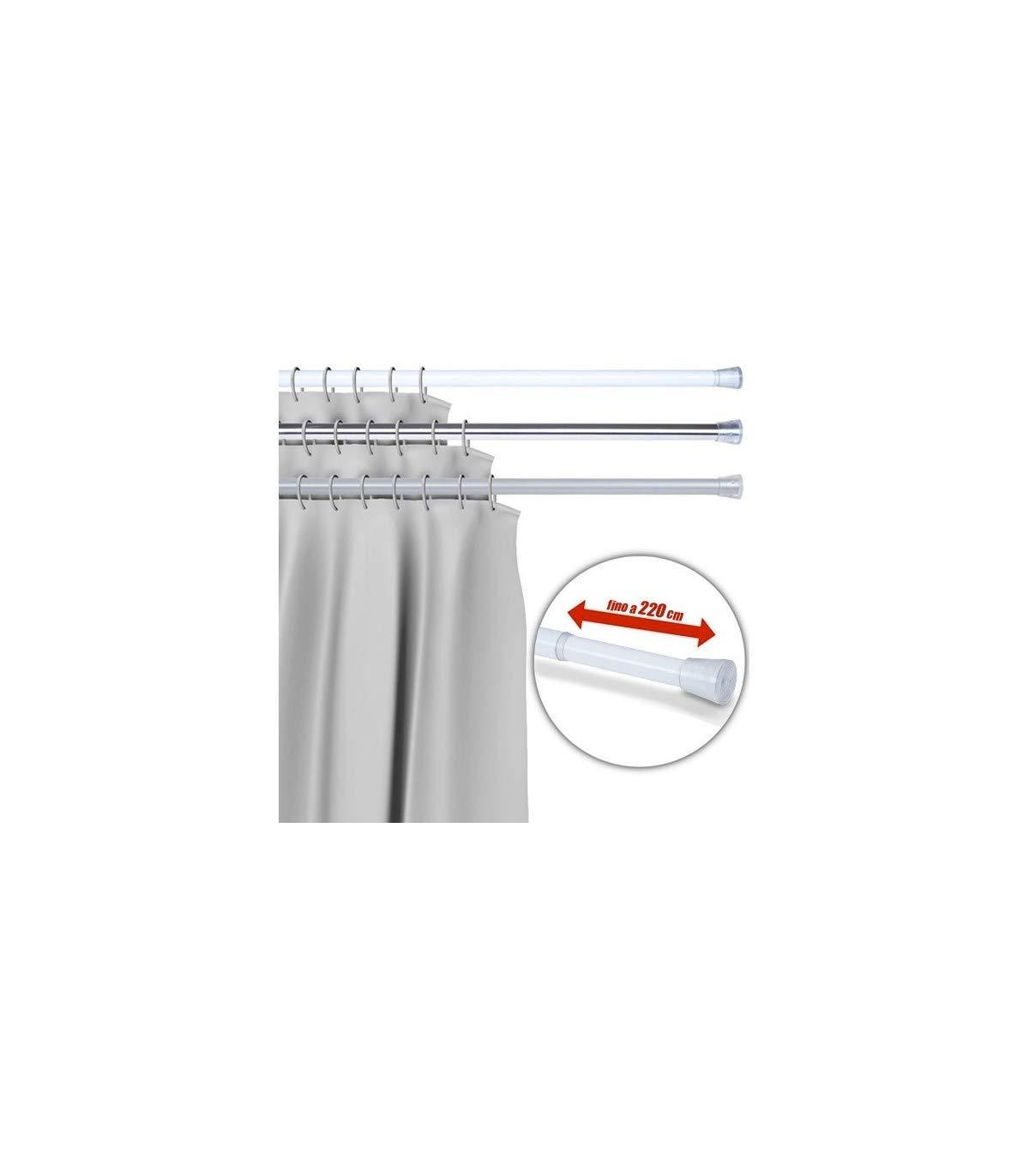 TrAdE shop Traesio Barra TELESCOPICA per Tenda da Doccia 110 CM Fino A 200 CM Alluminio Bianco
