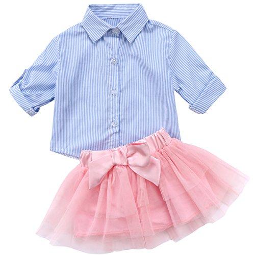 Annvivi Little Kids Baby Girl Sweet Dresses Navy Striped Shirt Bowknot Tutu Tulle Skirt Party Princess (Navy + Pink, 6-12 (Bright Flowers Dress)