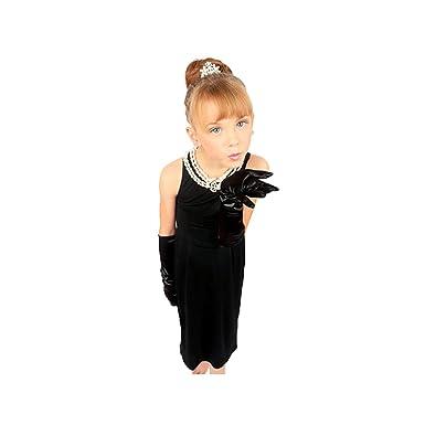 1b06332bf466 Amazon.com: Utopiat Cotton Black Dress Girls Audrey Hepburn Breakfast at  Tiffany: Clothing