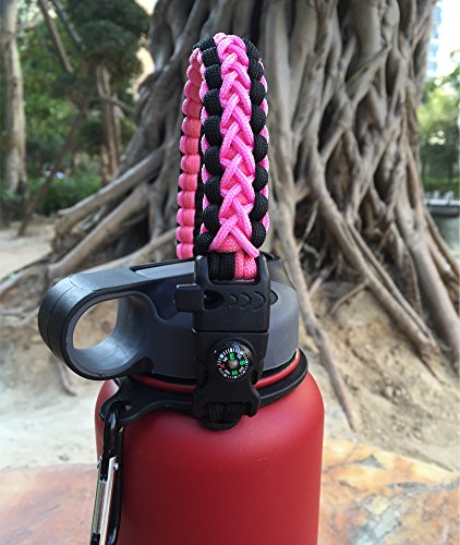 Handle for Hydro Flask - Paracord Survival Strap with Security Ring for Wide Mouth Water Bottles Carrier (Black/Pink) by MOCE