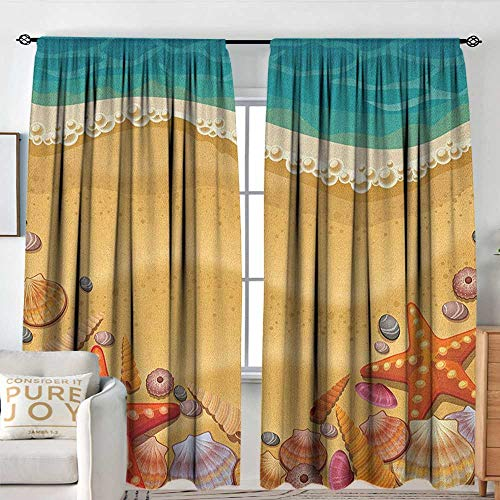 Seashells Waterproof Window Curtain Seashells on The Beach Style Coastal Fun Relaxation Waves Shoreline Insulated with Curtains for Bedroom W 72