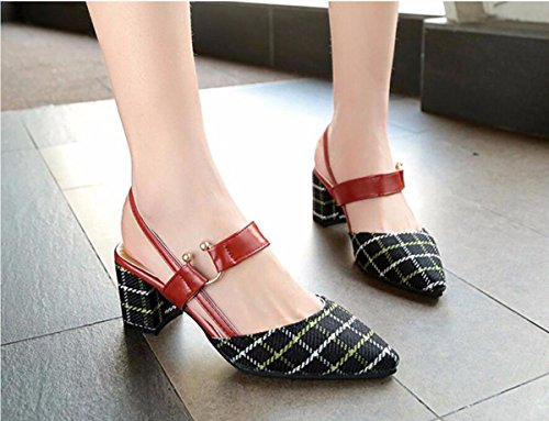 Heels Black Summer Women's Fashion Middle GTVERNH Shoes Retro Sandals Skirts Shoes with Matching and wpZvx4