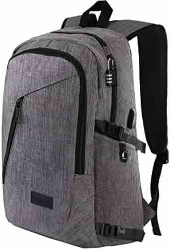 Laptop Backpack, Travel Computer Bag for Women & Men, Anti Theft Water Resistant College School Bookbag, Slim Business Backpack w/USB Charging Port Fits UNDER 17