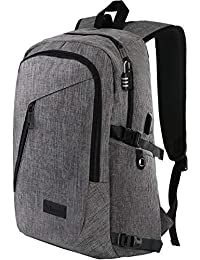 """Laptop Backpack, Travel Computer Bag for Women & Men, Anti Theft Water Resistant College School Bookbag, Slim Business Backpack w/USB Charging Port Fits UNDER 17"""" Laptop & Notebook by Mancro (Grey)"""