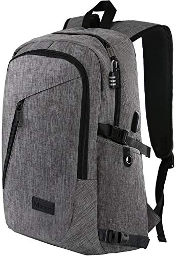 Laptop Backpack, Travel Computer Bag for Women & Men, Anti Theft Water Resistant College School Bookbag, Slim Business Backpack w/USB Charging Port Fits UNDER 17'' Laptop & Notebook by Mancro (Grey) by Mancro