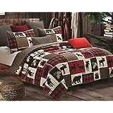 Virah Bella Lodge Life 3pc King Quilt Set, Black Bear Paw Moose Cabin Red Buffalo Check Plaid