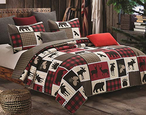 Virah Bella Lodge Life 3pc King Quilt Set, Black Bear Paw Moose Cabin Red Buffalo Check Plaid Bella King Size Comforter