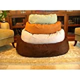 Majestic Pet 52-Inch Suede Bagel Dog Bed, Chocolate, My Pet Supplies