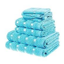Belle® Premium Super Soft 8 Piece Luxury Hotel / Spa Towel Set Includes 4 face cloths ,2 hand towels, 2 bath towels - 100% Egyptian cotton Towel Set By Laura Secrets (Aqua)