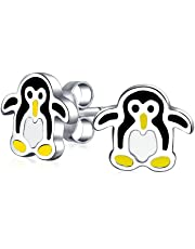 Minimalist Tiny Black Yellow Arctic Cartoon Stud Penguin Earrings For Teen For Women 925 Sterling Silver