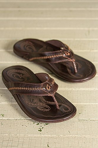 Men's OluKai Mea Ola Leather Sandals, DARK JAVA/DARK JAVA, Size 14 by OluKai (Image #4)