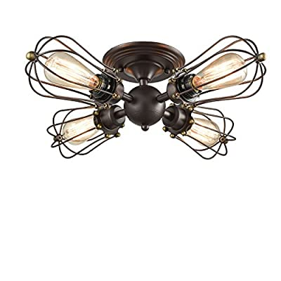 YOBO Lighting Oil Rubbed Bronze Wire Cage Vintage 4-Lights Semi-flush Mount Ceiling Lights Fixture
