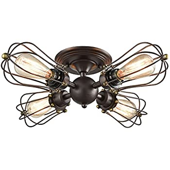 yobo lighting oil rubbed bronze wire cage vintage 4 lights semi