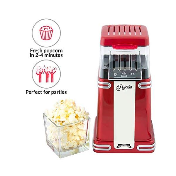 Gadgy ® Popcorn Machine | Retro Macchina Pop Corn Compatta | Aria Calda Senza Olio Grasso l Edizione Rossa Retrò 3