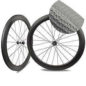DK 700c - Ruedas para Bicicleta de Carretera (Fibra de Carbono, 58 mm,