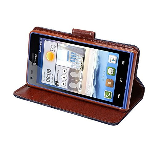 Apexel Denim Magnetic Flip PU Leather Wallet Stand Cover Case for Huawei Ascend G6 (4G) Black with Touch Pen
