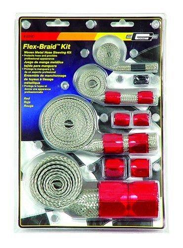 [Mr. Gasket 8090 Red Flex-Braided Hose Sleeve Kit] (Engine Radiator Hose)