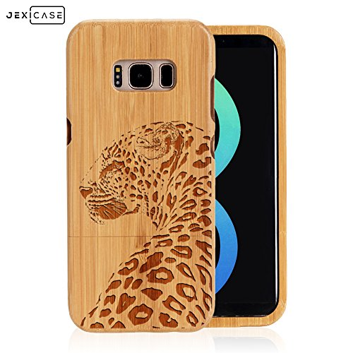 Samsung Galaxy S8 Plus Case Engraved Case,JEXICASE Real Natural Bamboo Wood Animal Engraved Phone Case Cover,Shockproof Dropproof Bumper Protective Carved ()