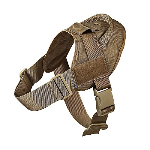 QW Tactical Dog Vest Harness Military Service Dog Vest Nylon Patrol K9 Service Training Harness with Handle for Dog Outdoor Sports (L, Brown)