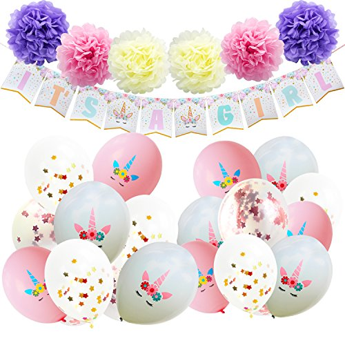 AMZTM Baby Shower Decorations for Girls - Unicorn Themed Party Supplies Kit - 1 Piece ITS A GIRL Banner, 6 Pieces Paper Pom Poms, 20 Pieces Confetti Latex Balloons