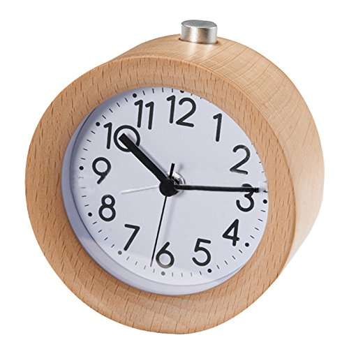 SODIAL(R) Classic Small Round Silent table Solid Wood Round pointer Alarm Clock, Light Wooden Design Dark Wood