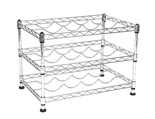 Seville Classics 12-Bottle Stackable Wine Rack, 11.5-inch by 17.5-inch by (Metal Wine Cabinet)