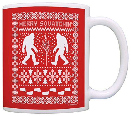 Ugly Sweater Print Merry Squatchin' Stocking Stuffer Sasquatch Gift Coffee Mug Tea Cup (Yeti Christmas Sweater)