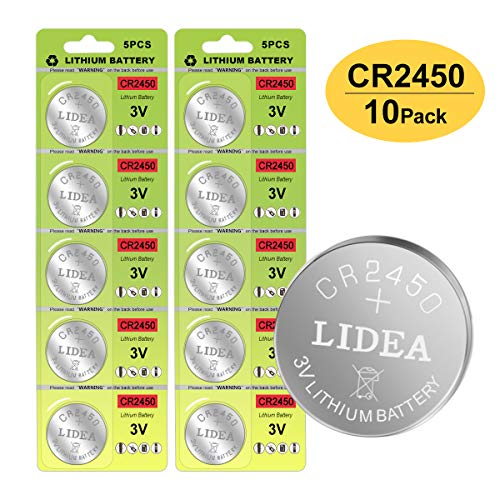 - CR2450 Battery 3v Lithium Coin Cell Batteries - High Capacity 700mAh Button Cell Battery 3 Volt CR2450 Batteries for Flameless Tea Light Candles, Remote, Window Sensor 10 Pack