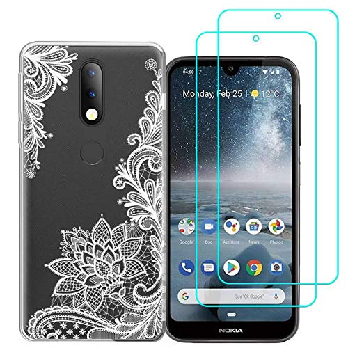 Nokia 4.2 Case with 2 Pack Glass Screen Protector Phone Case for Men Women Girls Clear Soft TPU with Protective Bumper Cover Case for Nokia 4.2-White Flower
